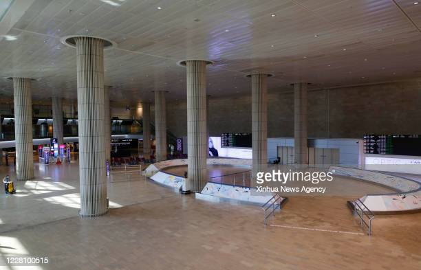 Aug. 13, 2020 -- Photo taken on Aug. 13, 2020 shows the departure hall at the Ben Gurion International Airport near central Israeli city of Tel Aviv....