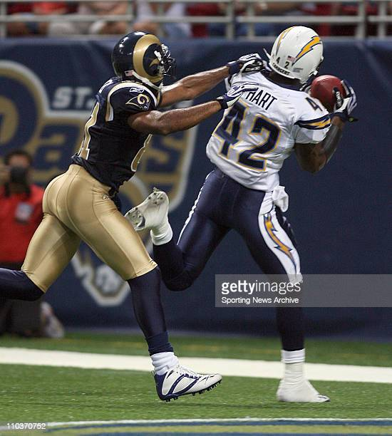 Aug 18 2007 St Louis MO USA NFL Football San Diego Chargers Clinton Hart interception against St Louis Rams Torry Holt during a preseason game on Aug...