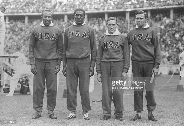 Jesse Owens Ralph Metcalfe Foy Draper and Frank Wykoff the USA 4x100 metres Relay Team at the 1936 Olympic Games in Berlin The USA won the gold medal...