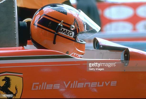 Portrait of Gilles Villeneuve of Canada in his Scuderia Ferrari before a Formula One race Mandatory Credit Allsport UK /Allsport