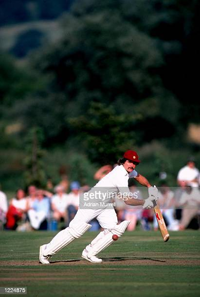 Allan Lamb of Northamptonshire in action during the John Player League match against Essex at the County Ground in Chelmsford England Mandatory...