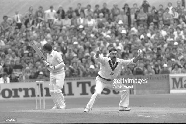 Dennis Lillee of Australia appeals for an LBW decision on Geoff Boycott during the 5th Test between England and Australia at Old Trafford Manchester...