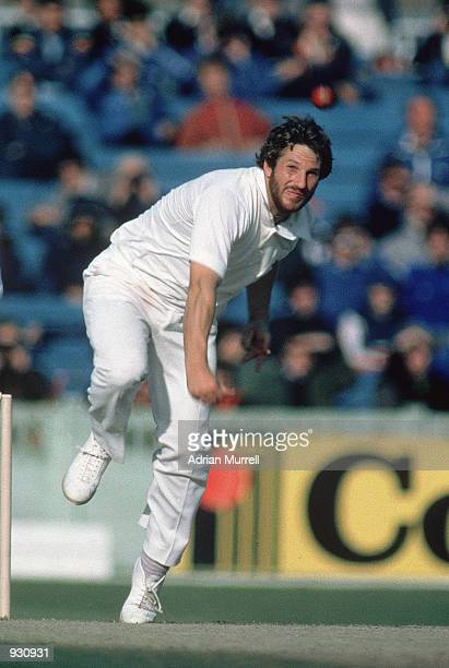 Ian Botham of England bowls during the 5th Ashes Test match between England and Australia at Old Trafford in Manchester England England won by 103...