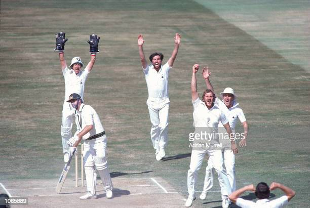Ian Botham of England takes a catch to dismiss Graham Yallop of Australia off the bowling of John Emburey during the fourth Test match at Edgbaston...