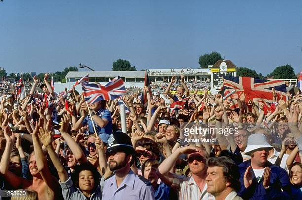 Jubilant English fans celebrate after the historic victory in the Fourth Ashes Test match against Australia at Edgbaston in Birmingham England...