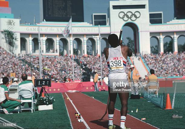 Daley Thompson of Great Britain in action during the decathlon high jump event at the Olympic Games in Los Angeles Thompson won the decathlon gold...
