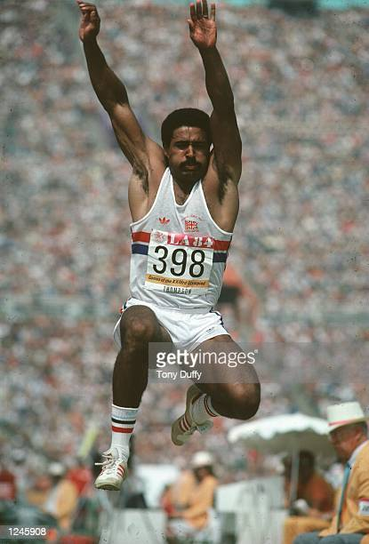 Daley Thompson of Great Britain in action during the decathlon long jump Thompson won the decathlon gold medal with a world record score of 8847...