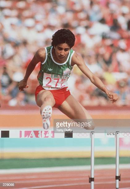 El Mountawakel during the women''s 400m hurdles at the 1984 Olympic Games in Los Angeles, California. Mandatory Credit: Tony Duffy/ALLSPORT