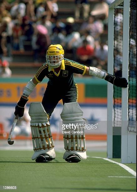 The Australian goal keeper in action during a field hockey match at the Los Angeles Olympic Games in California Mandatory Credit David Cannon...