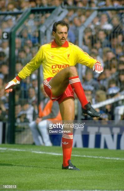Liverpool goalkeeper Bruce Grobbelaar warms up before a Canon League Division One match against Newcastle United at St James'' Park in Newcastle...