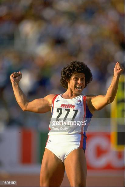 Fatima Whitbread of Great Britain celebrates winning the gold medal in the Javelin event at the 1987 World Championships in Rome Mandatory Credit...