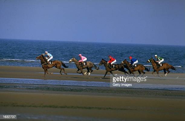 Horses training on the shore at Laytown races Laytown Ireland Mandatory Credit Allsport UK/Allsport