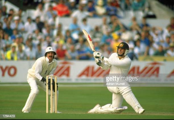 Mark Taylor of Australia in action during his innings of 219 in the Fifth Test match against England at Trent Bridge in Nottingham England Australia...