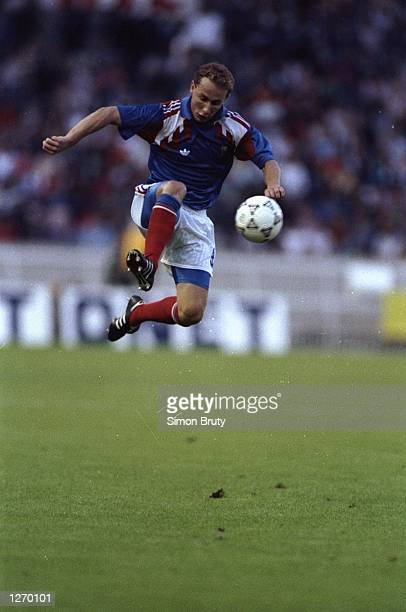 Jean Pierre Papin of France in action during a match against Poland in France The match ended in a 00 draw Mandatory Credit Simon Bruty/Allsport