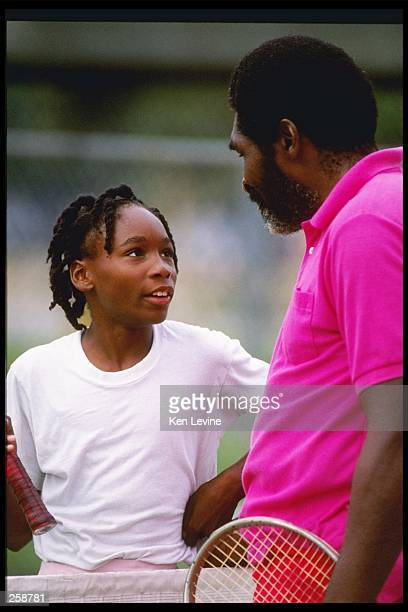 Venus Williams talks with her father Richard Williams Mandatory Credit Ken Levine /Allsport