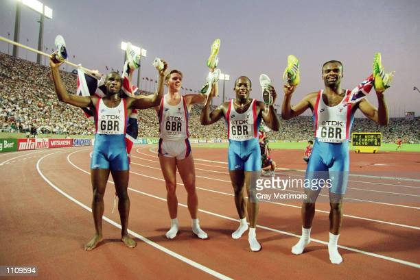 Derek Redmond Roger Black John Regis and Kriss Akabusi of Great Britain celebrate winning gold in the 4 x 400 metres Relay final at the 1991 World...