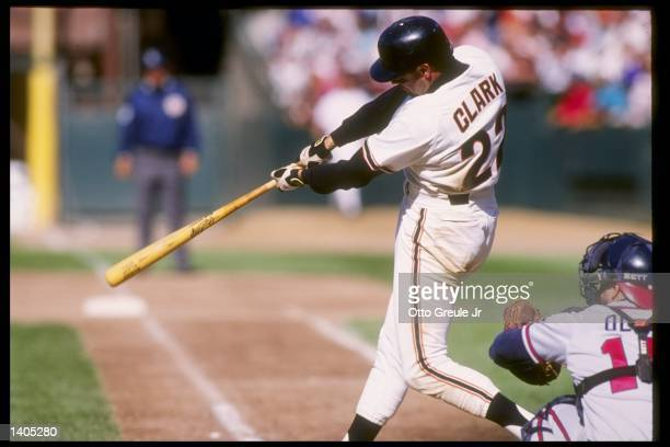 First baseman Will Clark of the San Francisco Giants swings at the ball during a game against the Atlanta Braves Mandatory Credit Otto Greule...