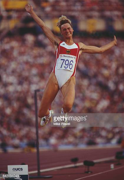 Heike Drechsler of Germany in action during the Long Jump event of the 1992 Olympic Games at the Monjuic Stadium in Barcelona Spain Drechsler won the...