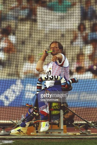 Ian Hayden of Great Britain in action during the javelin at the 1992 Paralympic Games in Barcelona Spain Hayden won the silver medal Mandatory Credit...