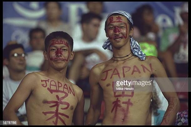 Japanese fans support their country at the 60kg judo competition at the 1992 Summer Olympics in Barcelona Spain Mandatory Credit Mike Hewitt/Allsport
