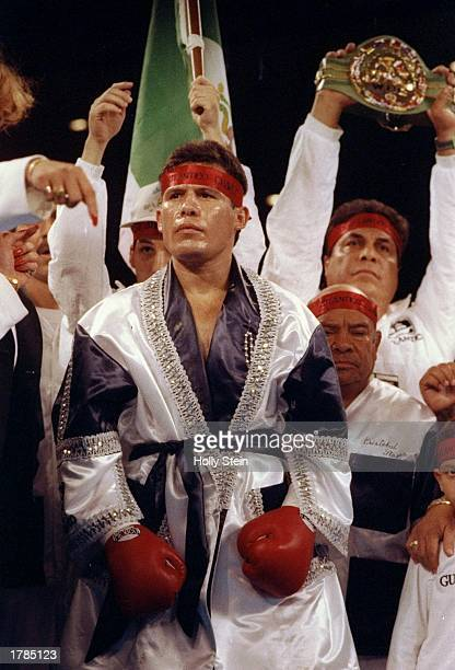 Julio Caesar Chavez stands with his entourage before a fight against Frankie Mitchell Chavez won the fight Mandatory Credit Holly Stein /Allsport