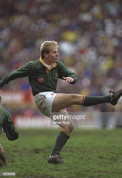 Naas Botha of South Africa kicks the ball during the match against Australia in Cape Town, South Africa. Australia won the match 26-3. \ Mandatory...