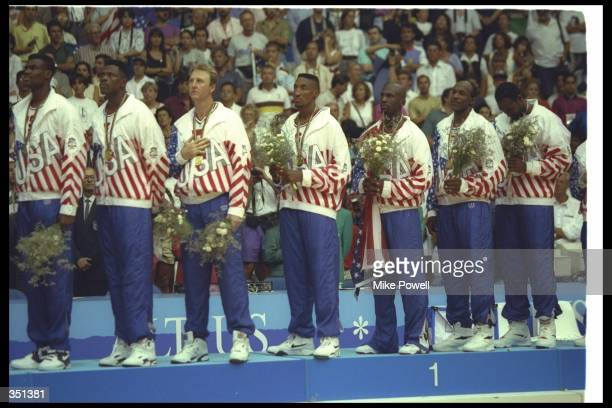 Team USA looks on after winning the gold at the Barcelona Olympics in Barcelona Spain Mandatory Credit Mike Powell /Allsport
