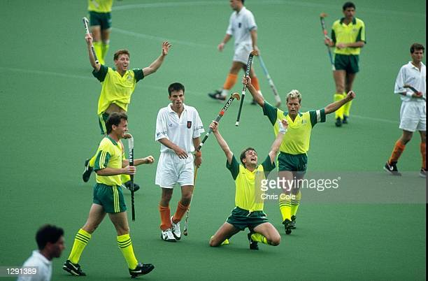The Australian Team celebrate after beating Holland in a semifinal of the Hockey event at the 1992 Olympic Games in Barcelona Spain Australia went on...