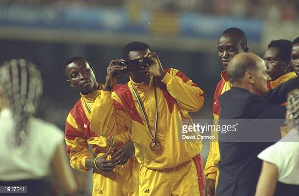 The Ghanaian football team receive their Bronze Medals during the 1992 Olympic Games at the Monjuic Stadium in Barcelona Spain Ghana were defeated by...