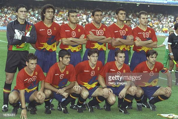 The Spanish football team pose for the cameras before the final against Poland during the 1992 Olympic Games at the Monjuic Stadium in Barcelona...