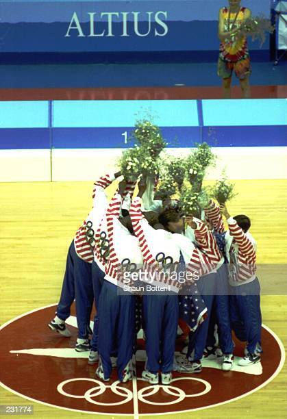 The USA 'Dream Team' celebrate their gold medal win at the 1992 Summer Olympics in Barcelona Spain Mandatory Credit Shaun Botterill/Allsport