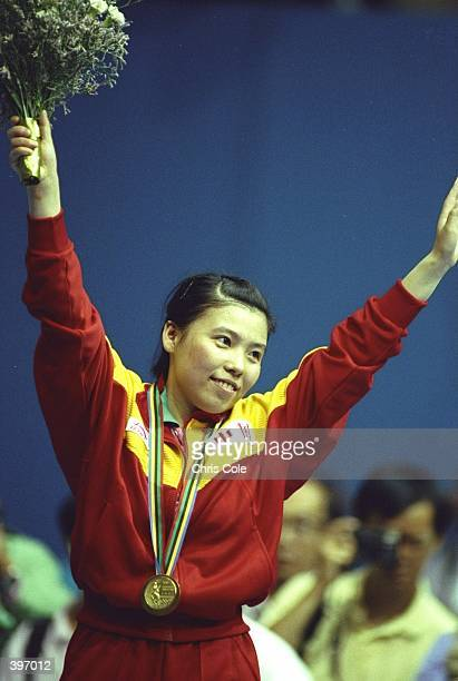 Yaping Deng of China celebrates after winning the gold medal in the Women''s Table Tennis event at the 1992 Olympic Games in Barcelona Spain...