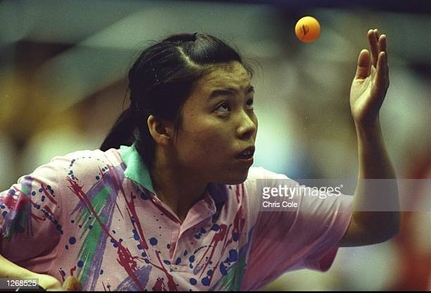 Yaping Deng of China serves during the Women's Table Tennis event at the 1992 Olympic Games in Barcelona Spain Deng won the gold medal Mandatory...