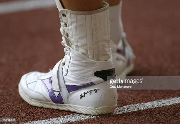 General view of the shoes of Javelin thrower Jan Zelezny of Czechoslovakia's shoes during the World Championships at the Gottlieb Daimler Stadium in...