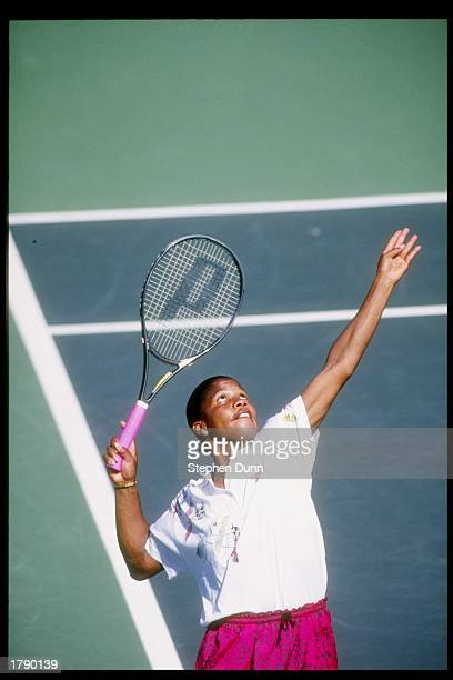 Lori McNeil serves the ball during a match at the Virginia Slims of Los Angeles in Los Angeles California Mandatory Credit Stephen Dunn /Allsport