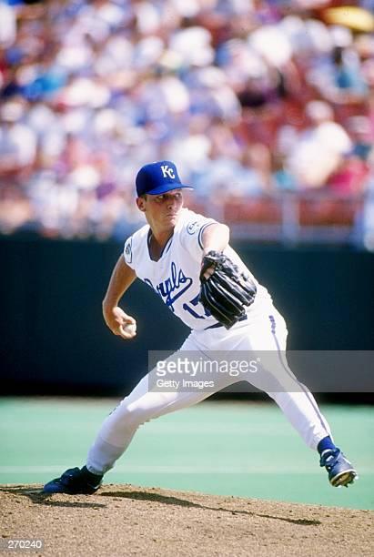 Pitcher David Cone of the Kansas City Royals throws a pitch during a game at Royal Stadium in Kansas City, Missouri. Mandatory Credit: Allsport...