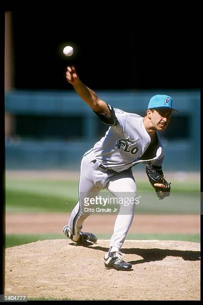 Pitcher Luis Aquino of the Florida Marlins throws the ball during a game against the San Francisco Giants at Candlestick Park in San Francisco...