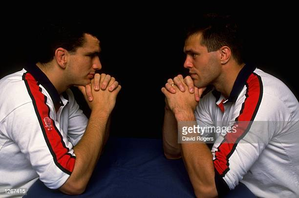 Portrait of English Locks Martin Bayfield and Martin Johnson facing each other Mandatory Credit David Rogers/Allsport