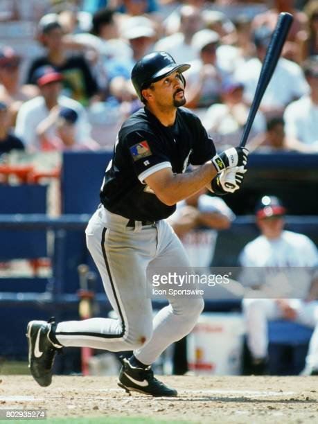 Chicago White Sox outfielder Darrin Jackson in action during an at bat in a game against the California Angels played at Anaheim Stadium in Anaheim CA