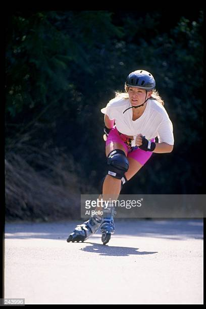 General view of a woman on rollerblades
