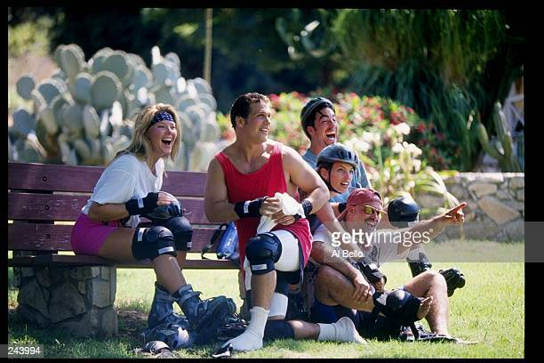 General view of rollerblade enthusiasts relaxing
