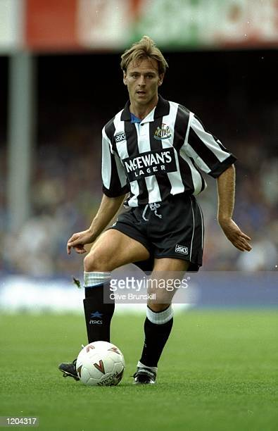 John Beresford of Newcastle United in action during an FA Carling Premiership match against Leicester City at the City Stadium in Leicester England...