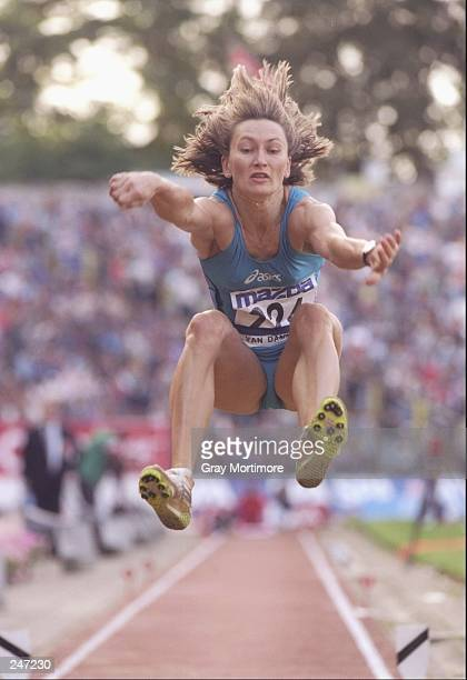 Renate Nielsen from Denmark competes in the long jump during the Brussels Gand Prix in Brussels Belgium Mandatory Credit Gray Mortimore /Allsport