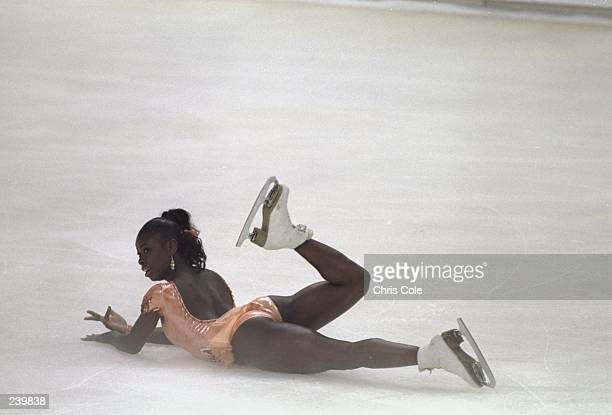 Surya Bonaly of France does her routine during the Goodwill Games in St Petersburg Russia Mandatory Credit Chris Cole /Allsport