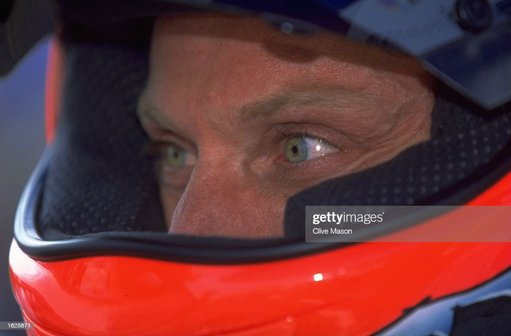 A helmeted portrait of Carl Fogarty of Great Britain during the World Superbike Championships : News Photo