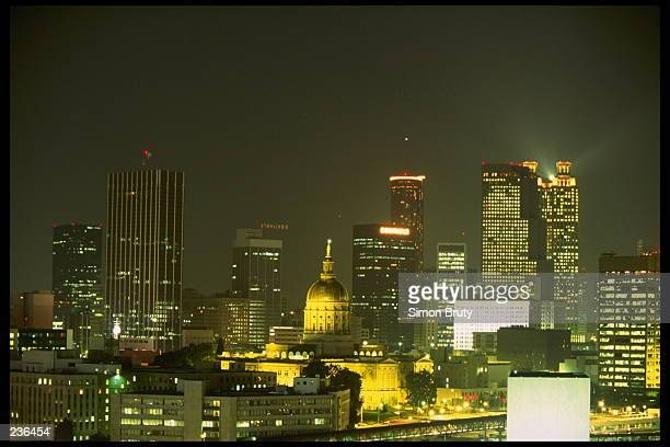 A nightime view of the skyline of Atlanta Georgia Atlanta will host the 1996 Summer Olympic Games Mandatory Credit Simon Bruty/Allsport
