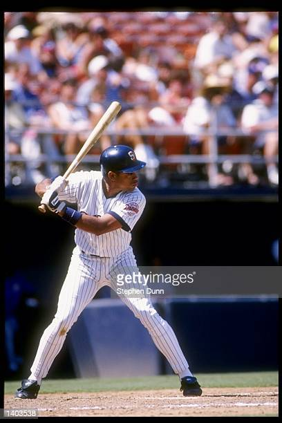 Andujar Cedeno of the San Diego Padres stands in the batters box during a game against the Montreal Expos at Jack Murphy Stadium in San Diego...