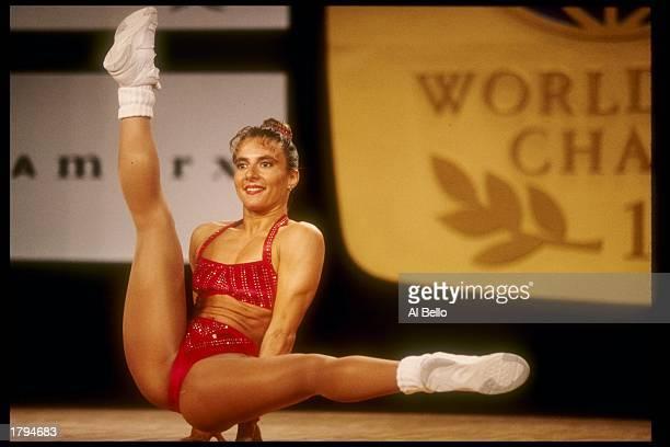 Carmen Valdera of Spain performs during the World Aerobic Championships Mandatory Credit Al Bello /Allsport