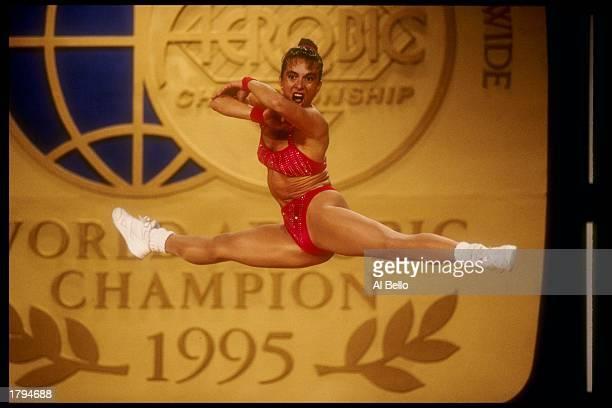 Carmen Valderas of Spain performs during the World Aerobic Championships Mandatory Credit Al Bello /Allsport