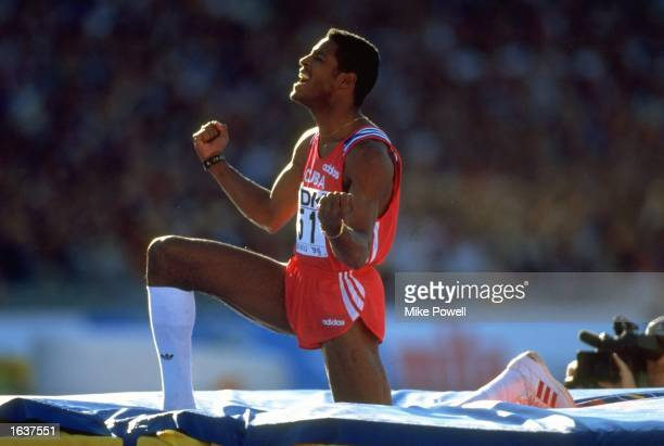 Javier Sotomayor of Cuba celebrates after clearing the bar during the High Jump event at the World Championships at the Ullevi Stadium in Gothenburg,...